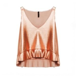 Zara Rose Gold Frill Hem Metallic tank blush top